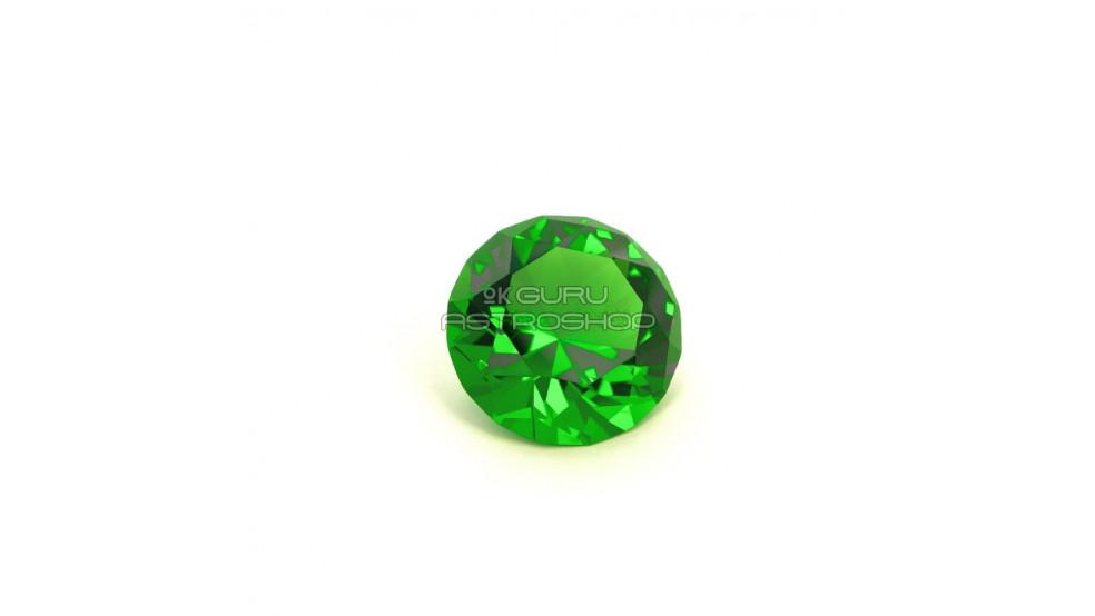 Кристалл зеленый с мантрой Лакшми для привлечения денег и изобилия (50 мм)